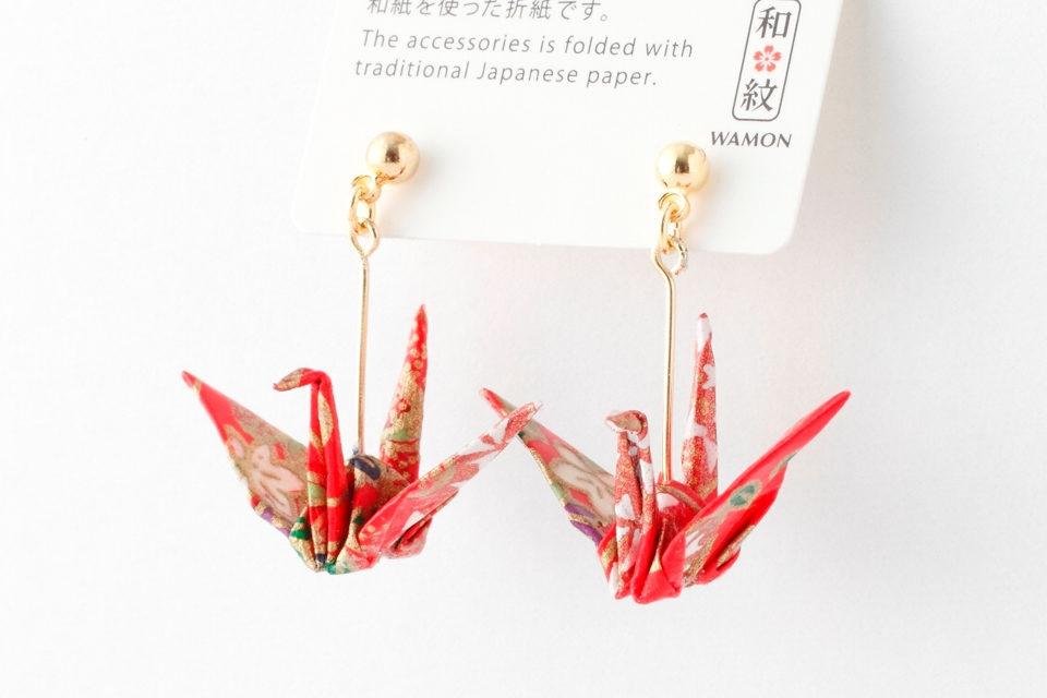 京こもの衣笠の折り鶴ピアス