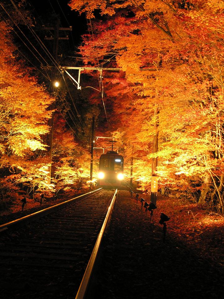 叡山電車のライトアップ