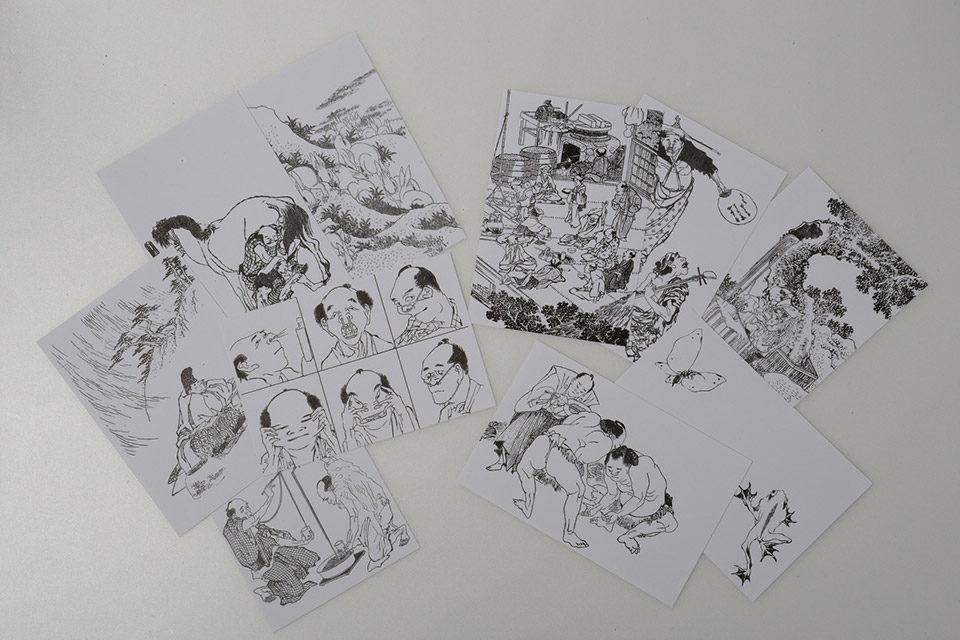 北斎漫画ポストカード
